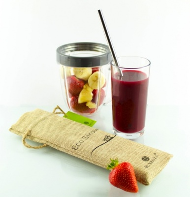 Eco Smoothie Straws - 4 Stainless Steel Straws with Cleaning Brush